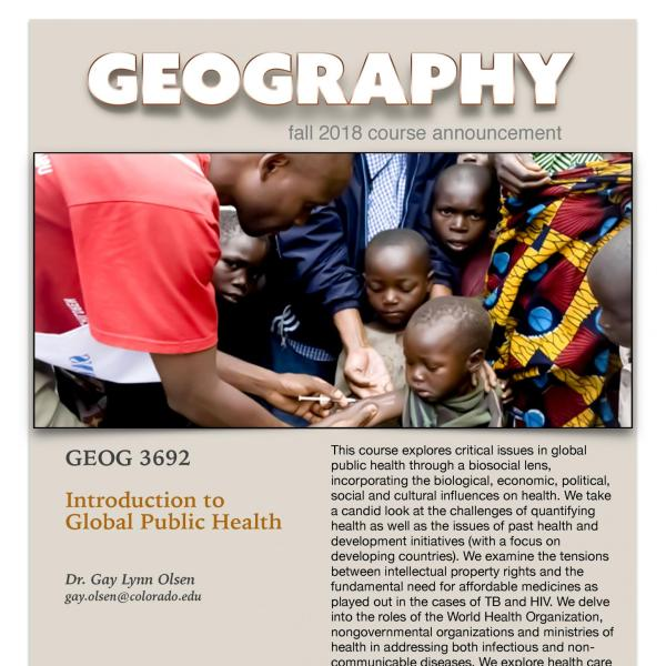 GEOG 3692 Course Flyer for Fall 2018