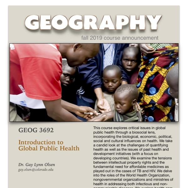 GEOG 3692 Course Announcement for Fall 2019