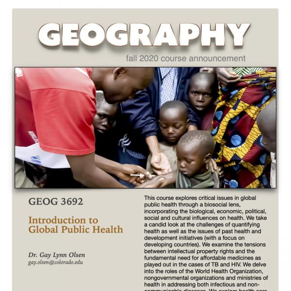 GEOG 3692 Course Flyer for Fall 2020