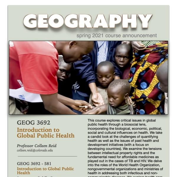 GEOG 3692 Course Flyer for Spring 2021
