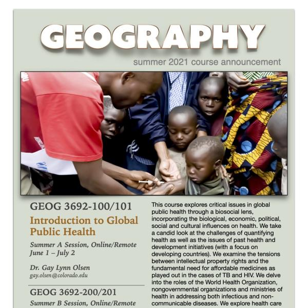 GEOG 3692 Course Flyer for Summer 2021