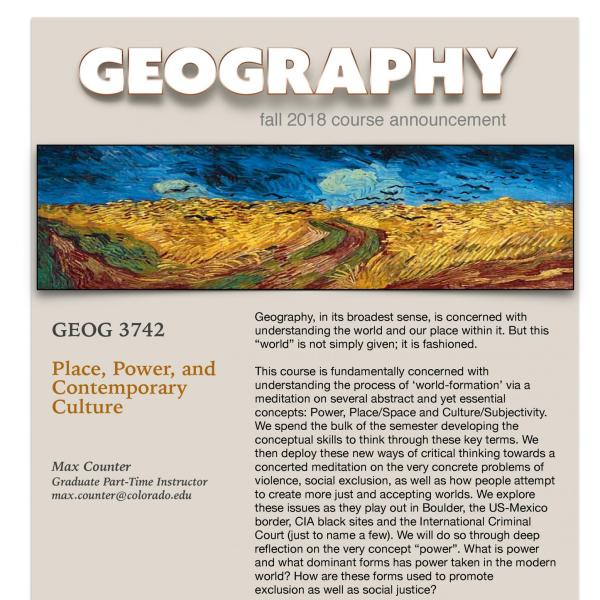 GEOG 3742 Course Flyer for Fall 2018