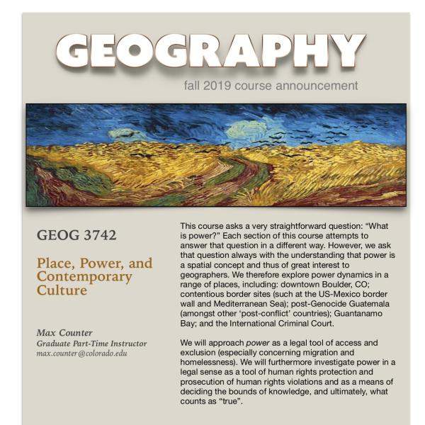 GEOG 3742 Course Announcement for Fall 2019