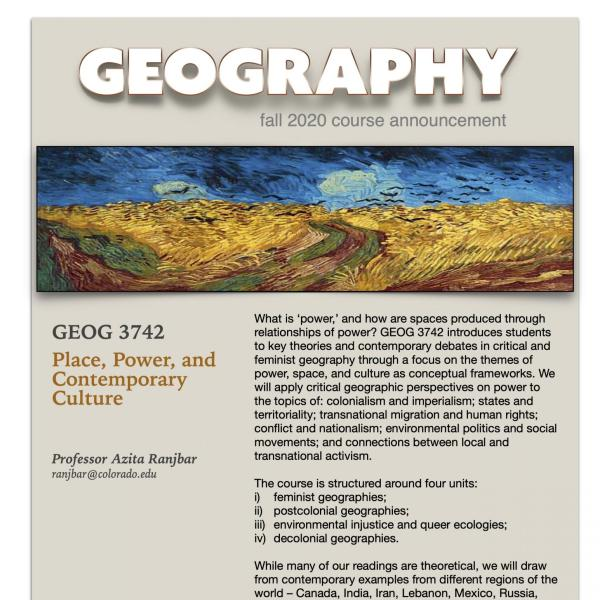 GEOG 3742 Course Flyer for Fall 2020