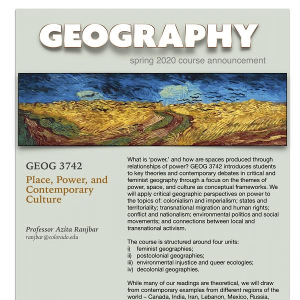 GEOG 3742 Course Announcement for Spring 2020