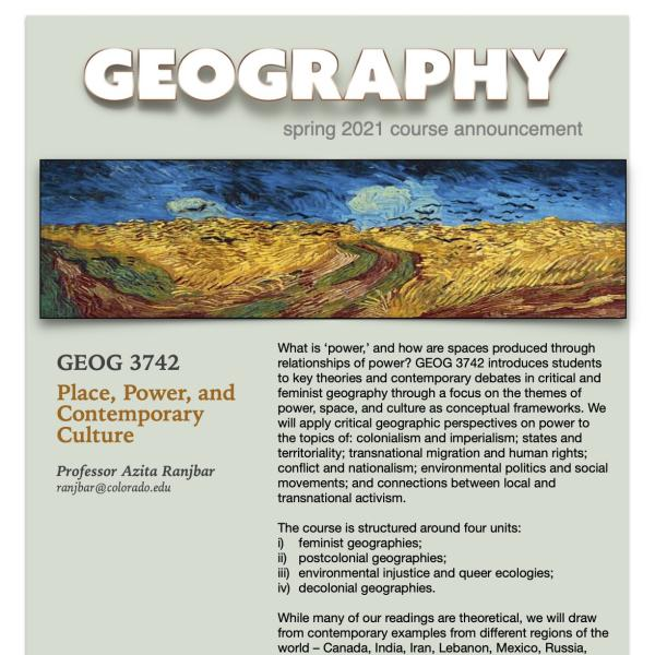 GEOG 3742 Course Flyer for Spring 2021