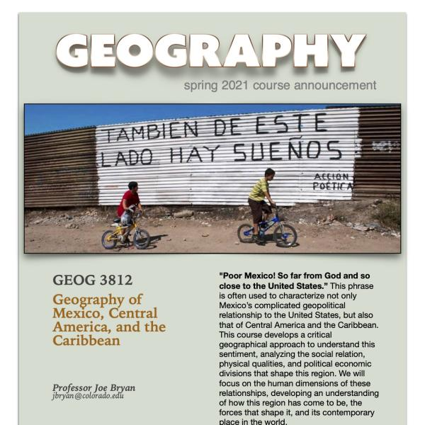 GEOG 3812 Course Flyer for Spring 2021