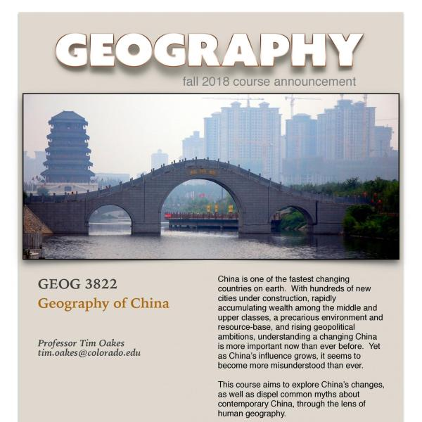 GEOG 3822 Course Flyer for Fall 2018