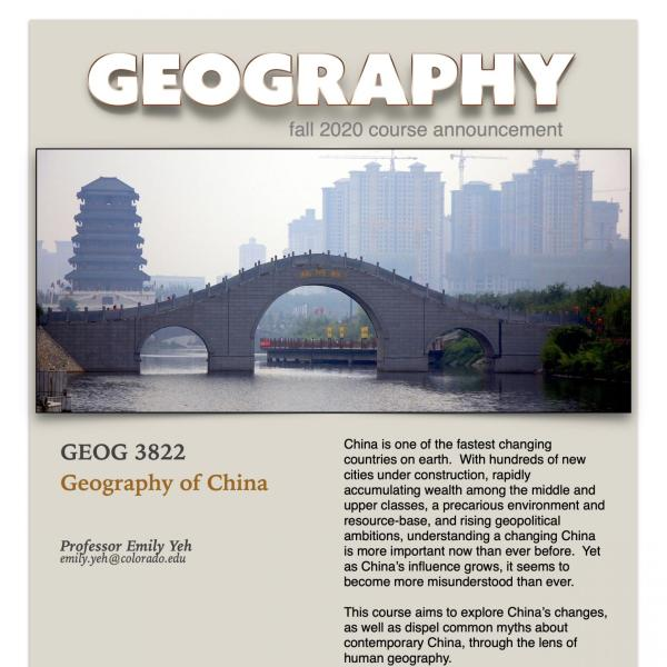 GEOG 3822 Course Flyer for Fall 2020