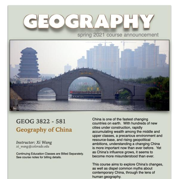 GEOG 3822 Course Flyer for Spring 2021