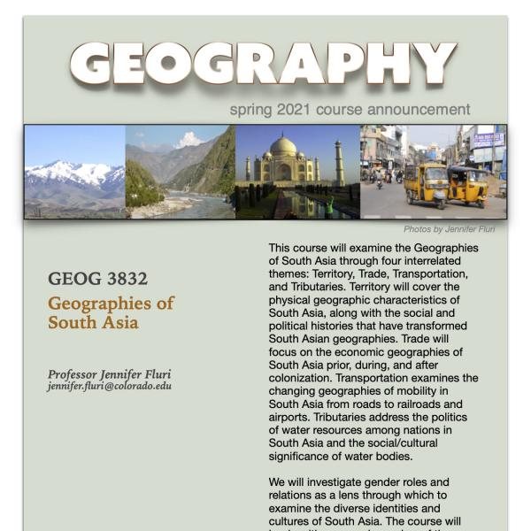 GEOG 3832 Course Flyer for Spring 2021