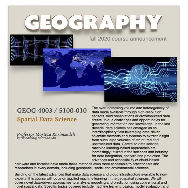 GEOG 4003 Course Flyer for Fall 2020