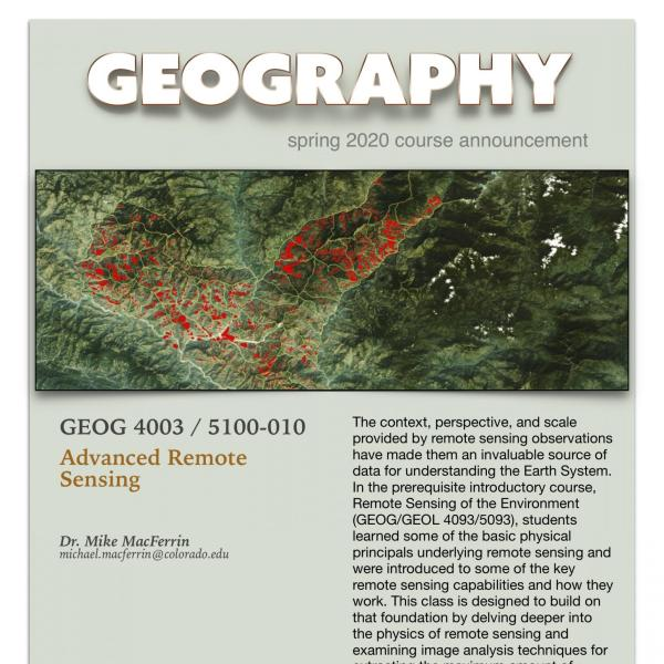 GEOG 4003/5100-010 Course Announcement for Spring 2020