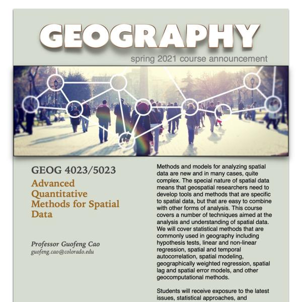 GEOG 4023/5023 Course Flyer for Spring 2021