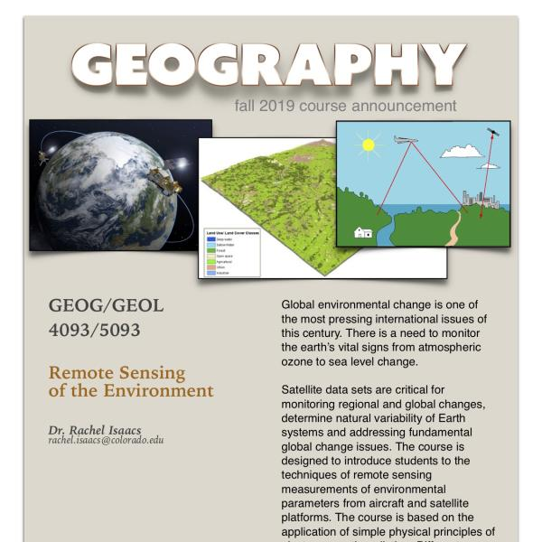 GEOG 4093-5093 Course Announcement for Fall 2019