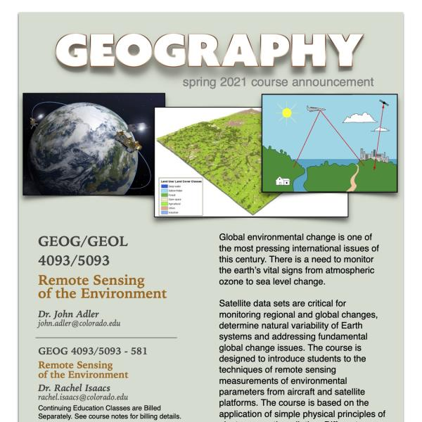 GEOG 4093 Course Flyer for Spring 2021
