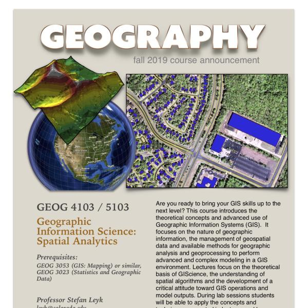 GEOG 4103-5103 Course Announcement for Fall 2019