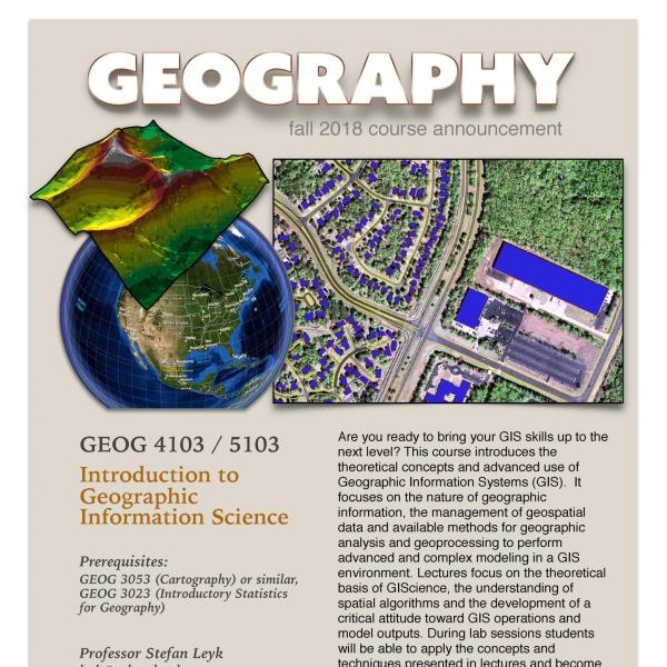 GEOG 4103/5103 Course Flyer for Fall 2018
