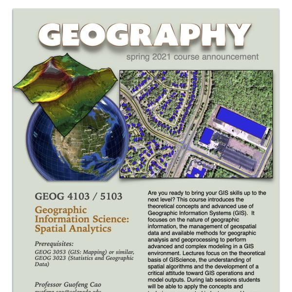 GEOG 4103/5103 Course Flyer for Spring 2021