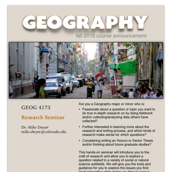 GEOG 4173 Course Flyer for Fall 2018