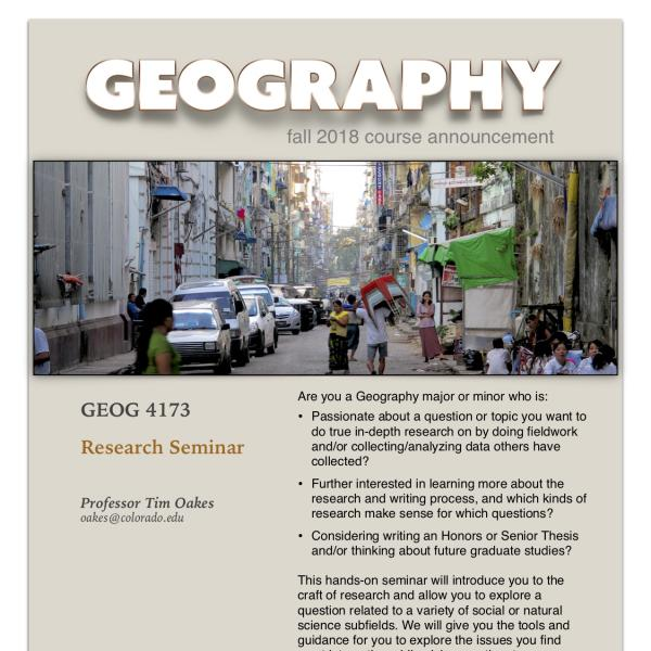 GEOG 4173 Course Announcement for Fall 2019