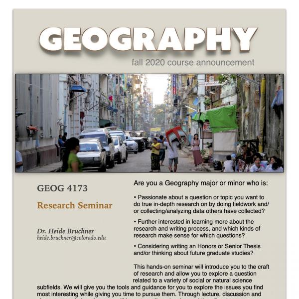 GEOG 4173 Course Flyer for Fall 2020