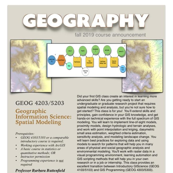 GEOG 4203-5203 Course Announcement for Fall 2019