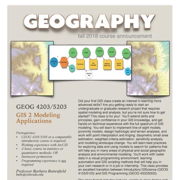 GEOG 4203/5203 Course Flyer for Fall 2018