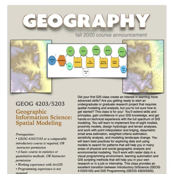 GEOG 4203/5203 Course Flyer for Fall 2020