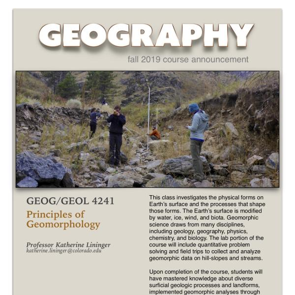 GEOG 4241 Course Announcement for Fall 2019