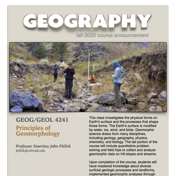 GEOG 4241 Course Flyer for Fall 2020