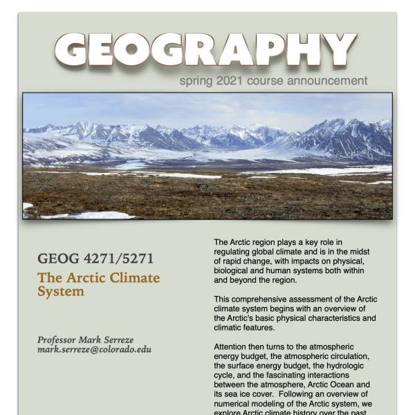 GEOG 4271/5271 Course Flyer for Spring 2021