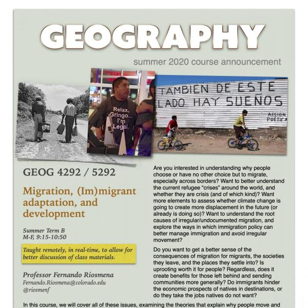 GEOG 4292 Course Flyer for Summer 2020
