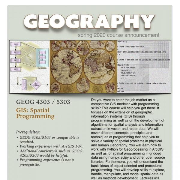 GEOG 4303/5303 Course Announcement for Spring 2020