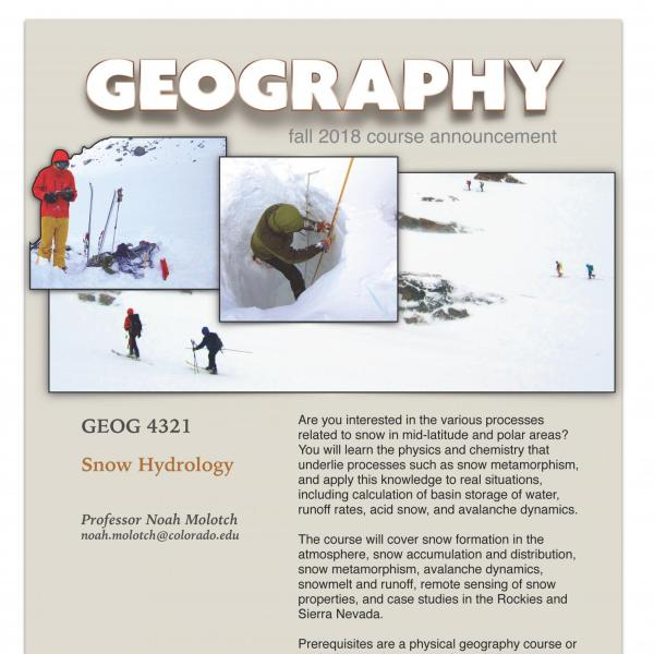 GEOG 4321 Course Flyer for Fall 2018