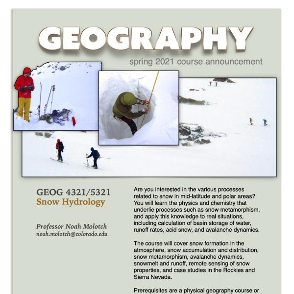 GEOG 4321 Course Flyer for Spring 2021