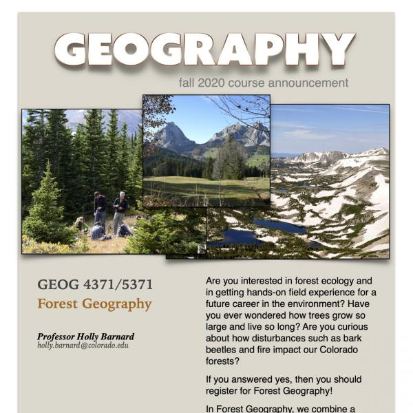 GEOG 4371/5371 Course Flyer for Fall 2020
