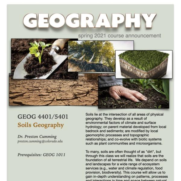 GEOG 4401/5401 Course Flyer for Spring 2021