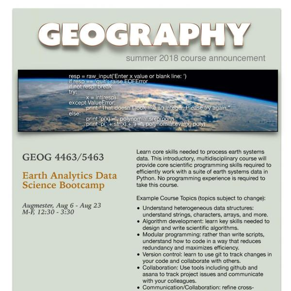 GEOG 4463/5463 Course Flyer - Summer 2018