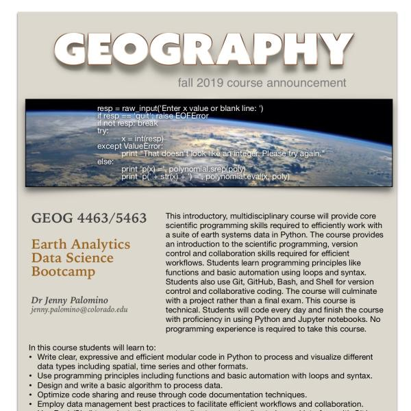 GEOG 4463-5463 Course Announcement for Fall 2019