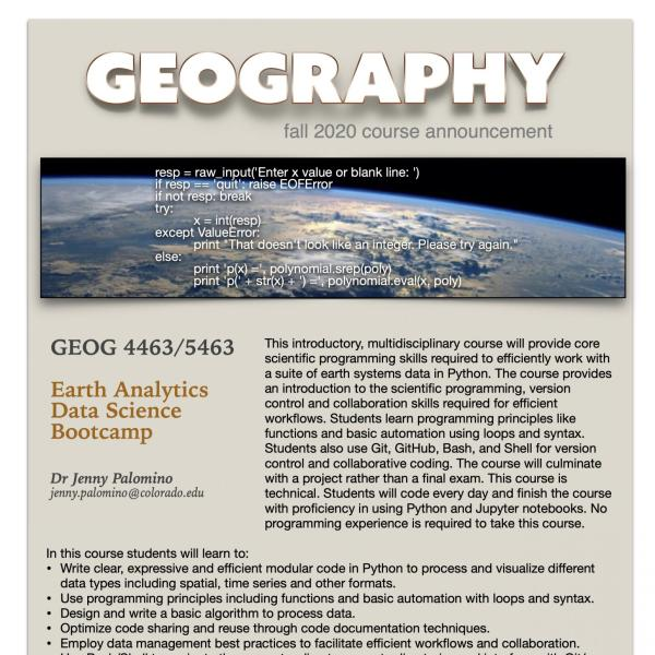 GEOG 4463/5463 Course Flyer for Fall 2020
