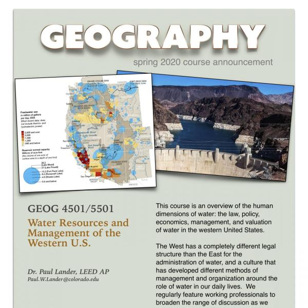 GEOG 4501/5501 Course Announcement for Spring 2020