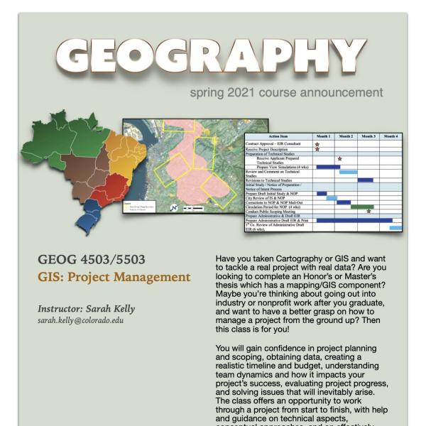 GEOG 4503/5503 Course Flyer for Spring 2021