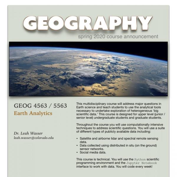 GEOG 4563 Course Announcement for Spring 2020