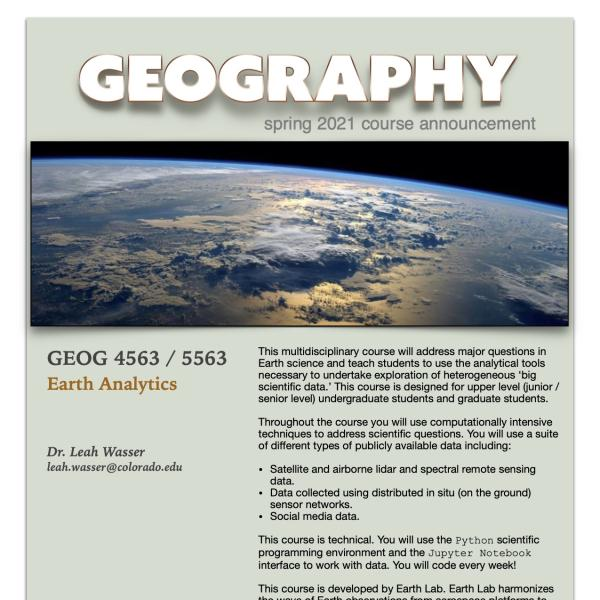 GEOG 4563 Course Flyer for Spring 2021