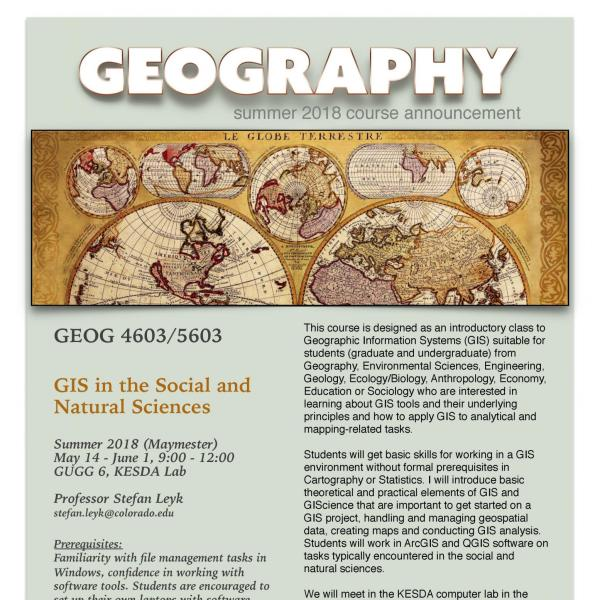 GEOG 4603/5603 Course Flyer - Summer 2018