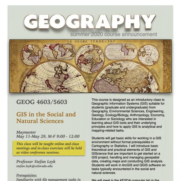 GEOG 4603/5603 Course Flyer for Summer 2020