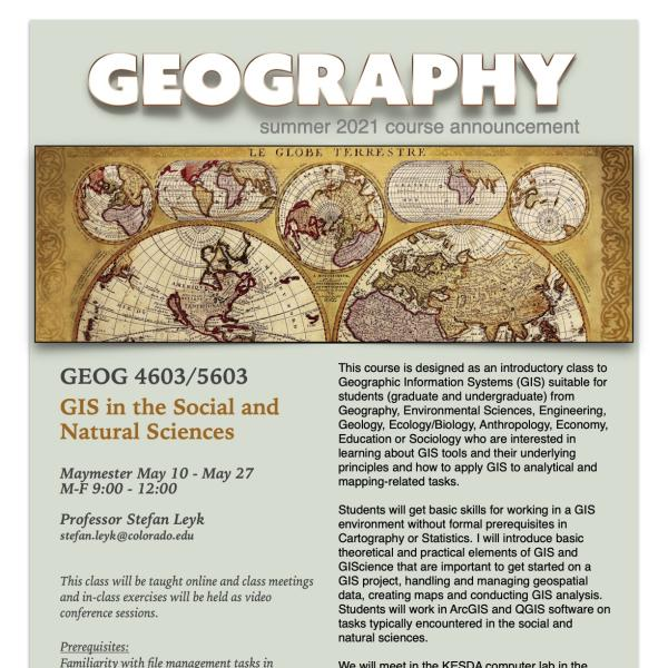 GEOG 4603/5603 Course Flyer for Summer 2021
