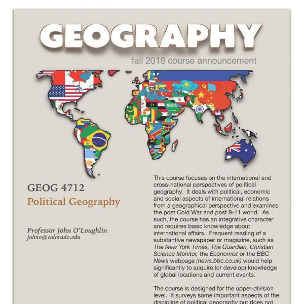 GEOG 4712 Course Flyer for Fall 2018