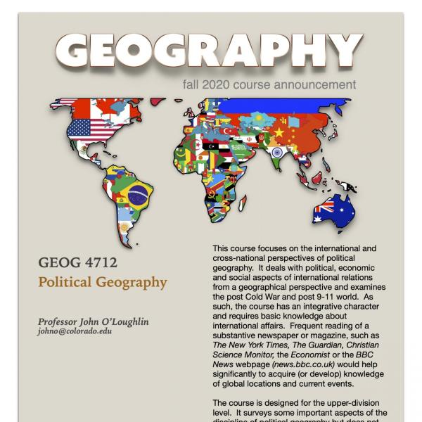 GEOG 4712 Course Flyer for Fall 2020